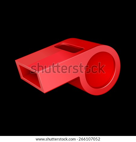 red whistle isolated on black 10eps - stock vector