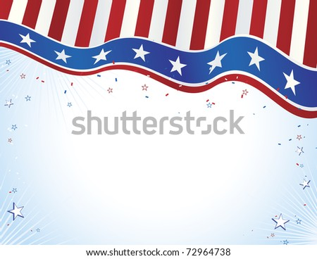 Red white and blue American Flag style banner with copy space - stock vector