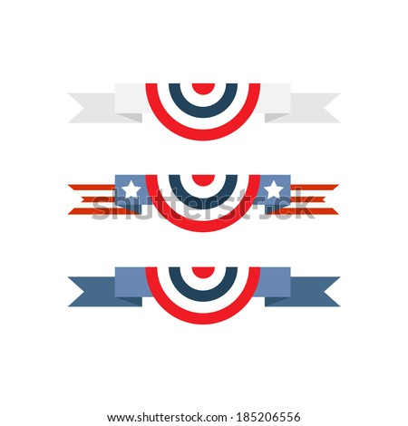 Red white and blue banting isolated over white background, set - stock vector