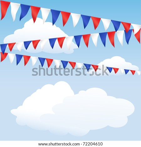 Red white and blue bunting. English or USA colours, suitable for 4th of July, Queen's Jubilee or Royal Birth background. Space for text. EPS10 vector format. - stock vector