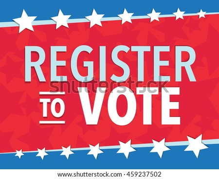 Red white and blue election day register to vote - stock vector