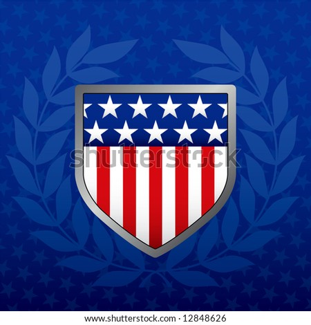 Red White and Blue Shield on a Star Background - stock vector