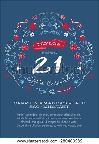 Red white blue 21st birthday party stock vector 280403585 shutterstock red white and blue 21st birthday party invitation template vector filmwisefo