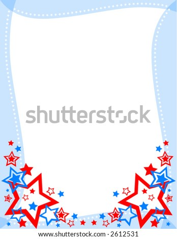 Red, White and Blue Star Frame - stock vector