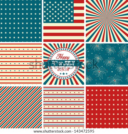 Red White And Blue, stars and stripes - USA backgrounds