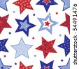 Red White and Blue Stars Vector - stock vector