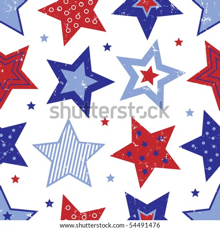 Red White and Blue Stars Vector