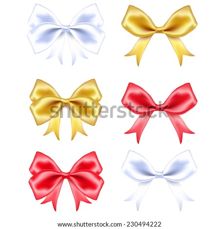 Red, white and golden silk  ribbons set on white background. Vector illustration