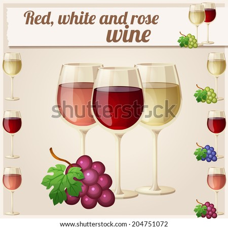 Red, white and rose wine in glasses. Detailed Vector Icon. Series of food and drink and ingredients for cooking. - stock vector