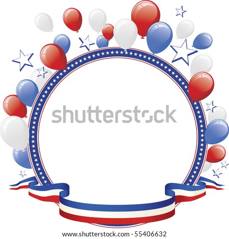 Red White Blue Balloon and Star Border - stock vector