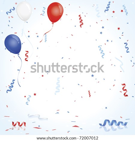 Red White Blue balloons and confetti - stock vector