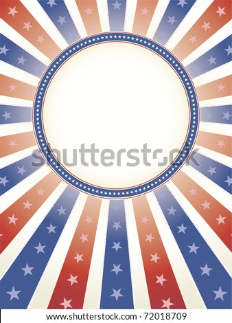 Red White Blue Burst of rays with stars and copy space circle in middle - stock vector