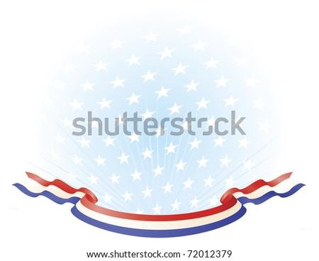 Red White Blue Ribbon Banner across stars background - stock vector