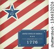 Red white diagonally striped background with big blue star with the wording: 4th of July and a blue label with the wording: United Stated of America independent since 1776. - stock photo