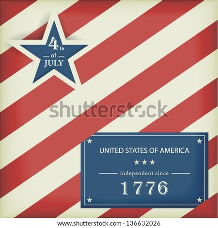 Red white diagonally striped background with big blue star with the wording: 4th of July and a blue label with the wording: United Stated of America independent since 1776. - stock vector