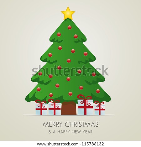 red white gift boxes merry christmas tree - stock vector
