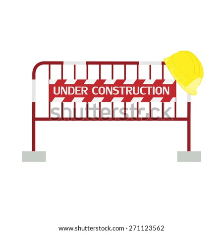 Red,white, striped road barrier with under construction sign and yellow building helmet ,barricade, road block vector isolated - stock vector
