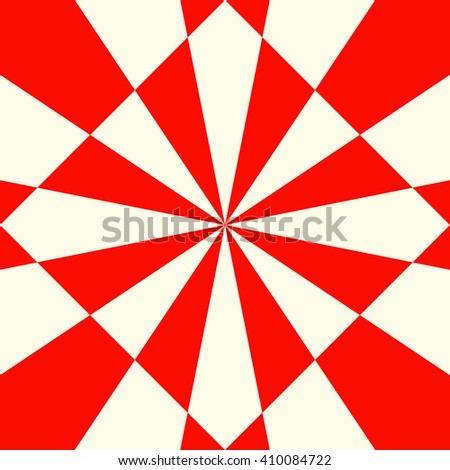 Red white stylized optical prism sunbeam background. Red striped abstract wallpaper. Symmetric geometric ornament. Vector illustration - stock vector