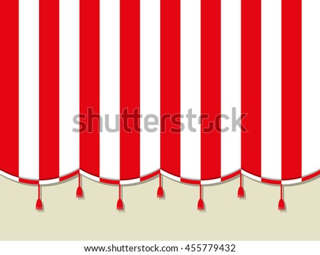 Red white theater circus curtain. vector illustration in flat style - stock vector