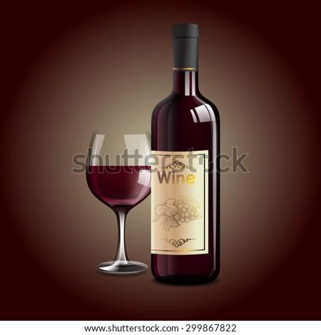 red wine - stock vector