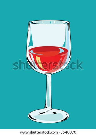 red wine glass - stock vector