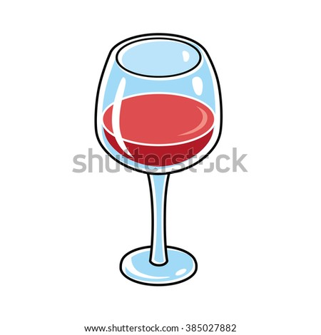 Red wine glass. - stock vector