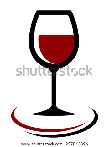 red wine glass icon with decorative element on white background - stock vector