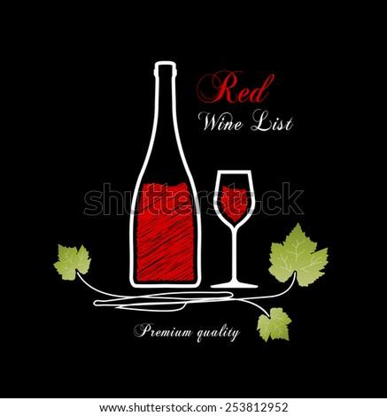 Red wine list design - stock vector