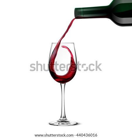 Red Wine Pouring - stock vector