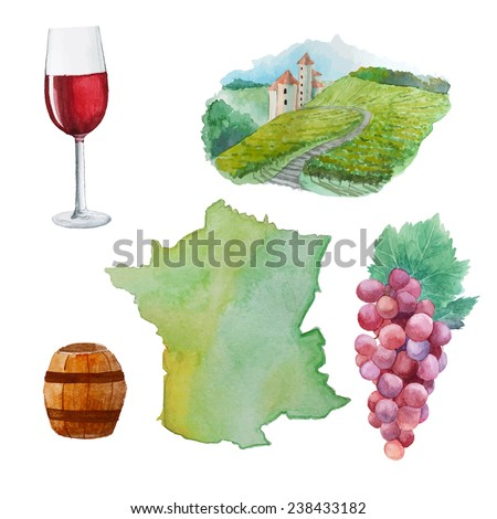 Red wine sey. Watercolor silhouette of France, red wine glass, vineyard and bunch of grapes. Hand drawn vector illustrations of Winemaking in France - stock vector