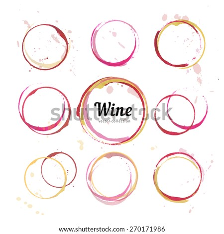 Red wine stains for wine card, stamp,  logo, list, menu. Vector set of isolated wine stain circles. Wine stain logo design. Wine bottom glass ring stains for logo design. Watercolor glass wine marks.