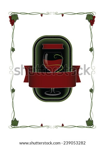 red wine vector label with a glass of wine and ornaments - stock vector