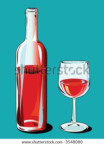red wine with bottle - stock vector