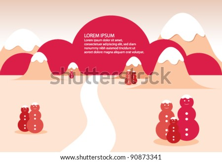 red winter landscape with mountains and snowmen - stock vector