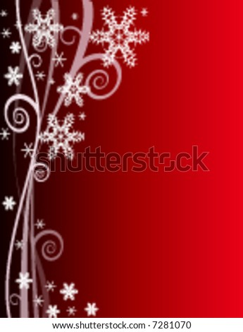 Red Winter Snowflake Background for Christmas (vector) - stock vector
