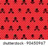 Red with White Polka Dots and Black Rock Musician Skull and Cross Bones with Green Girlie Bows Pattern Background Fabric or Wrapping Paper Design - stock vector