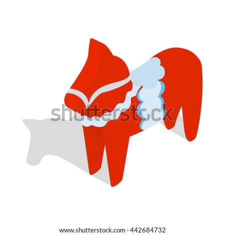 Red wooden horse, national symbol of Sweden icon in isometric 3d style on a white background - stock vector