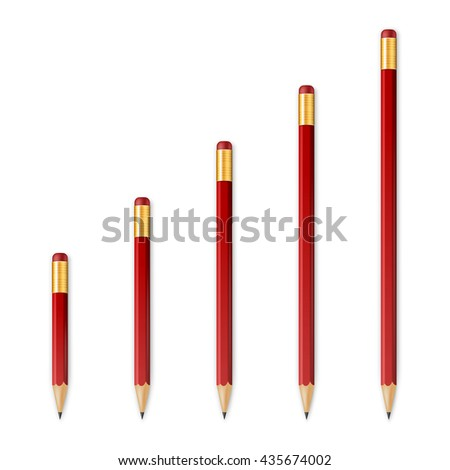 Red wooden sharp pencils