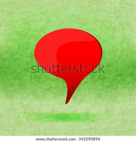 Red word speech on green - stock vector