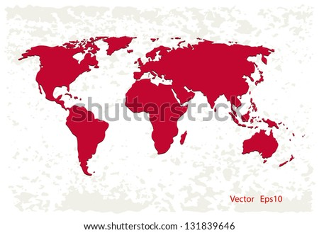 Red world map on grunge background,vector eps 10 - stock vector