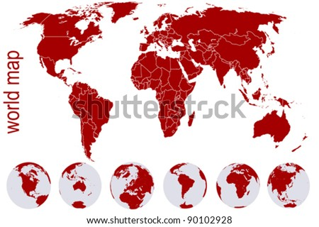 Red world map with Earth globes - stock vector