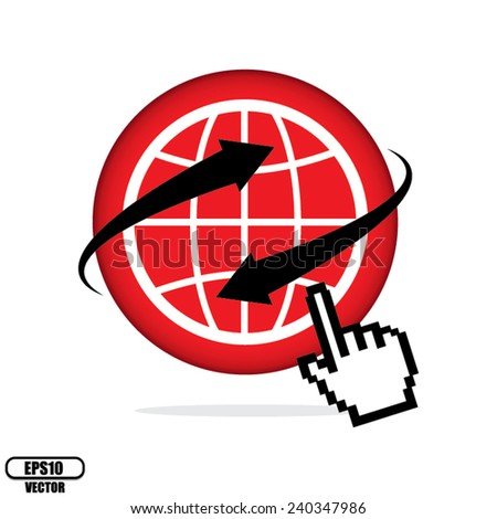Red World wide web internet or Internet search concept, Earth globe with hand cursor pointer, Isolated on white background. Vector illustration. - stock vector
