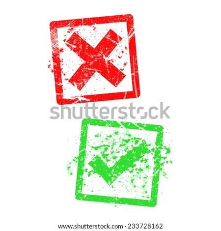 red x and green check mark, grungy rubber stamp. - stock vector