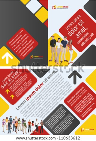 Red, yellow and black template for advertising brochure with business people - stock vector