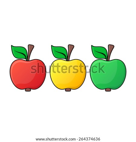 Red yellow green apple icons with black contour - stock vector