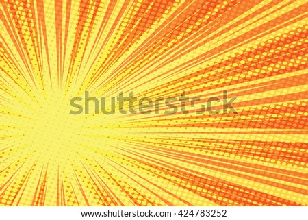 Red yellow retro rays vector background pop art retro vector - stock vector