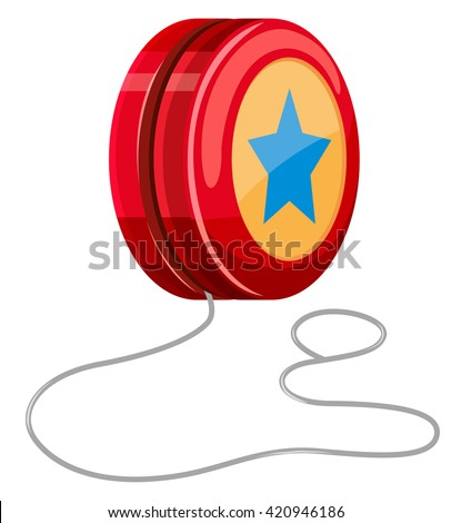 Red yo-yo with white string illustration - stock vector