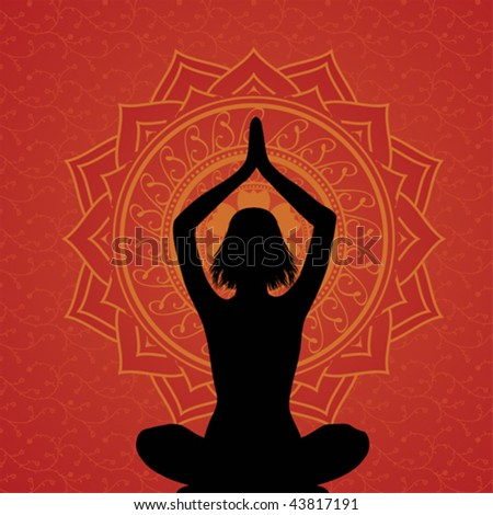 Red yoga and meditation background with floral elements - stock vector