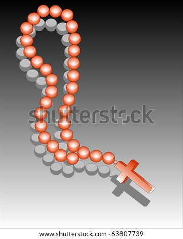Reddish beads with a cross against a dark background - stock vector