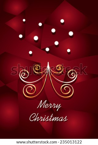 Reddish slice background effect and christmas abstract elements - stock vector